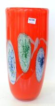 A CONTEMPORARY RED ART GLASS VASE