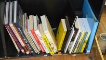 A SHELF OF MISCELLANEOUS BOOKS INCL. CHARLES SAATCHI AND TARZAN