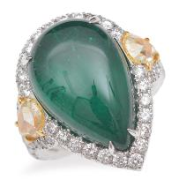 A COLOMBIAN EMERALD AND COLOURED DIAMOND RING