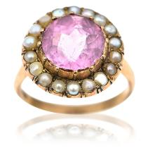 A PINK TOURMALINE AND SEED PEARL CLUSTER RING