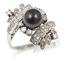 A BLACK CULTURED PEARL AND DIAMOND DRESS RING