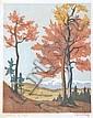 CARL ROTKY (AUSTRIAN, 1891-1977) Autumn in Sytria (Austria) woodblock