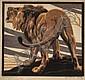 NORBERTINE VON BRESSLERN-ROTH (AUSTRIAN, 1891-1978) Lion linocut