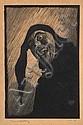 LIONEL LINDSAY (1874-1961) The Jester 1923 wood engraving ed. 100