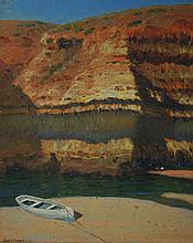 GUSTAVE A. BARNES, BOAT AND CLIFFS, OIL ON CANVASBOARD, 38 X 29.5CM