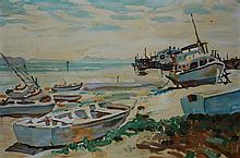 ARTIST UNKNOWN (POSSIBLY MAX RAGLUS), BOATS, OIL ON CANVASBOARD, 34 X 50CM