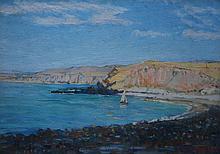 JOHN GILES, SAILBOAT IN THE BAY, OIL ON CARD, 15 X 21CM