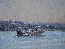 ROBERT WADEN, SHIP AT SYNDEY HARBOUR, OIL ON CANVASBOARD, 25 X 34CM