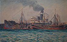 ROBERT WADEN, SHIPS AT SYDNEY HARBOUR, OIL ON BOARD, 28 X 43CM