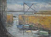 ARTIST UNKNOWN, DOCKED BOATS, OIL ON MASONITE, 30 X 40CM - TO BE GROUPED