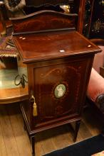 SHERATON STYLE MUSIC CABINET, WITH A MARQUETRY INLAID DOOR CENTERED BY A JASPERWARE PORECLAIN CARTOUCHE (KEY IN OFFICE)