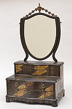 A 19TH CENTURY CHINESE EXPORT BLACK LACQUERED VANITY MIRROR