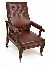 A 19TH CENTURY MAHOGANY FRAMED ARMCHAIR