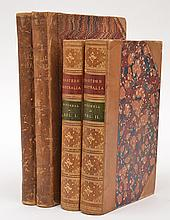 FOUR LEATHER BOUND TEXTS ON SUBJECTS INCLUDING NATURAL HISTORY