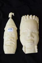 TWO IVORY CARVINGS PROVENANCE SOUTH AFRICA