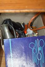 BOX LOT, INCL PEWTER, CAMERAS, RODD FLATWARE, ETC