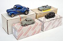 4 DIECAST MODELS INCLUDING 2 X CROSSWAY MODELS MORRIS OXFORD AND MORRIS 8; THE GREAT AMERICAN DREAM MACHINE 1951 BUICK LESABRE; AND ONE OTHER (E-M BOXES G-E) (4)