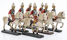 7 X ELASTOLIN (GERMANY) HORSE MOUNTED FIGURES, CIRCA 1930S, COMPOSITE, UNBOXED A/F (7)