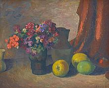 ROLAND WAKELIN (1887-1971) Still Life with Flowers and Fruit 1947 oil on canvasboard