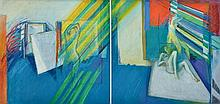 BRIAN SEIDEL (born 1928) Sudden Shaft of Light 1969 diptych i) Image in a Dry Studio ii) Languor of a Sharp Studio acrylic on canvas