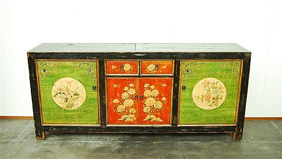 CHINESE SIDE BOARD, REPRODUCTION, A floral painted Gansu style sideboard. W) 205 cm x H) 90cm x D) 45cm