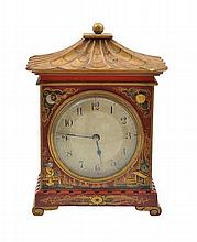 A FRENCH CHINOISERIE RED LACQUERED MANTEL CLOCK