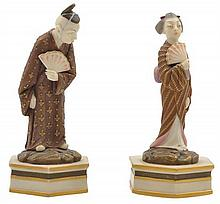 A PAIR OF 19TH CENTURY ROYAL WORCESTER FIGURES, GEISHA AND NOH ACTOR CIRCA 1873