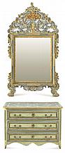 A 19TH CENTURY FRENCH POLYCHROME PAINTED THREE DRAWER CHEST AND A SIMILAR MIRROR