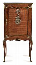 A LOUIS XVI STYLE GILT METAL MOUNTED PARQUETRY SIDE CABINET
