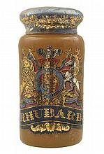 A LARGE GLASS PHARMACEUTICAL RHUBARB JAR AND COVER 19TH CENTURY