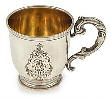A SWEDISH SILVER CHRISTENING CUP 19TH CENTURY