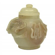 A CHINESE CARVED JADE LIDDED POT 20TH CENTURY