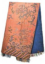 A CHINESE SECTION OF AN IMPERIAL SILK ROBE 19th CENTURY, POSSIBLY DAOGUANG PERIOD