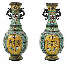 A PAIR OF CHINESE CLOISONNE VASES, QIANLONG MARK TO BASE