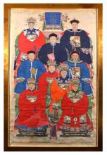 A LARGE CHINESE ANCESTOR PORTRAIT GROUP 19TH CENTURY