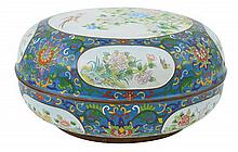 A CHINESE CLOISONNE CIRCULAR BOX AND COVER