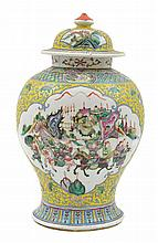 A LARGE CHINESE ENAMELLED FAMILLE ROSE GINGER JAR AND MATCHING COVER