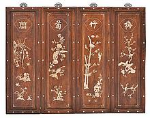 FOUR CHINESE MOTHER OF PEARL INLAID PANELS REPRESENTING THE FOUR SEASONS