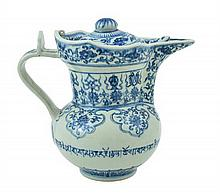 A CHINESE BLUE AND WHITE MONK'S CAP PORCELAIN JUG AND LID