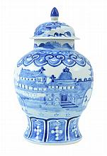 A BLUE AND WHITE PORCELAIN GINGER JAR AND COVER KANGXI MARK