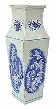 A TALL CHINESE BLUE AND WHITE BALUSTER VASE