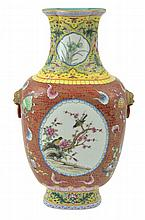 A LARGE CHINESE FAMILLE ROSE GILT DECORATED VASE