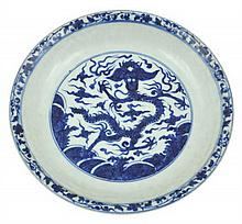A CHINESE BLUE AND WHITE DRAGON DISH, JIAJING MARK
