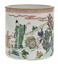 A CHINESE FAMILLE VERT ENAMELLED BRUSH POT, POSSIBLY KANGXI PERIOD (1662-1722)
