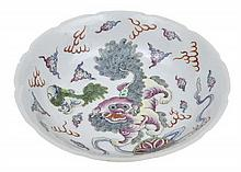 A FAMILLE ROSE ENAMELLED DISH