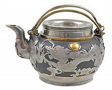 A SILVER OVERLAID CLAY TEAPOT AFTER SHI DA BIN, EARLY 20TH CENTURY