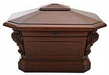 A WILLIAM IV FLAME MAHOGANY SARCOPHAGUS CELLARETTE