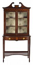 A FINE QUALITY SHERATON STYLE MAHOGANY AND MARQUETRY SIDE CABINET
