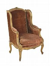 A 19TH CENTURY FRENCH GILTWOOD FRAMED BERGERE