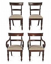 AN ASSEMBLED SET OF TWELVE MAHOGANY SPADE BACK DINING CHAIRS